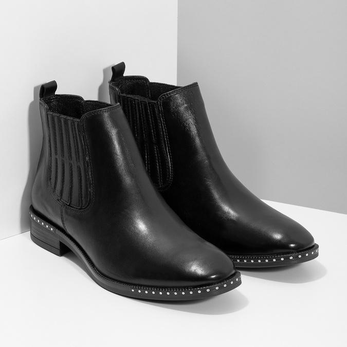Skórzane obuwie damskie typu chelsea zkryształkami bata, czarny, 594-6682 - 26