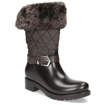 Brązowe śniegowce damskie zfuterkiem bata, brązowy, 592-4602 - 13
