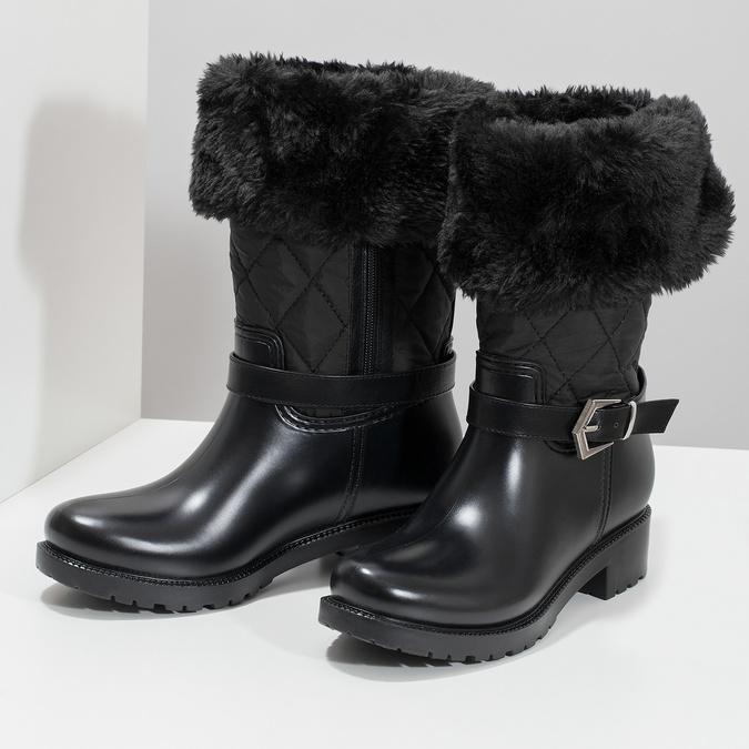 Czarne śniegowce damskie zfuterkiem bata, czarny, 592-6602 - 16