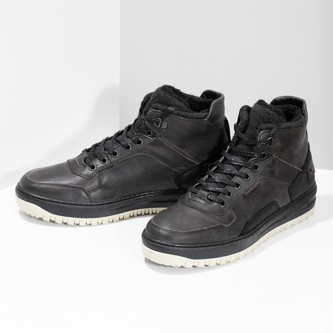 Czarne skórzane obuwie męskie za kostkę bata, czarny, 896-6712 - 16