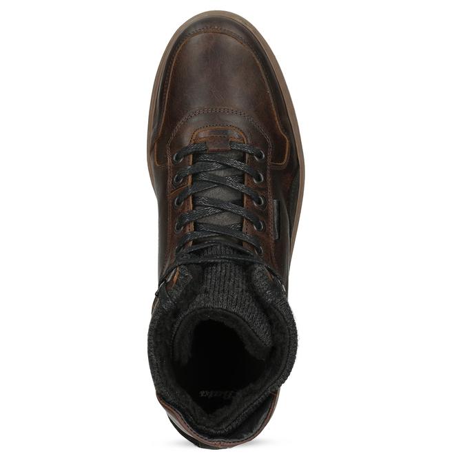 Zimowe skórzane obuwie męskie za kostkę bata, brązowy, 896-3712 - 17