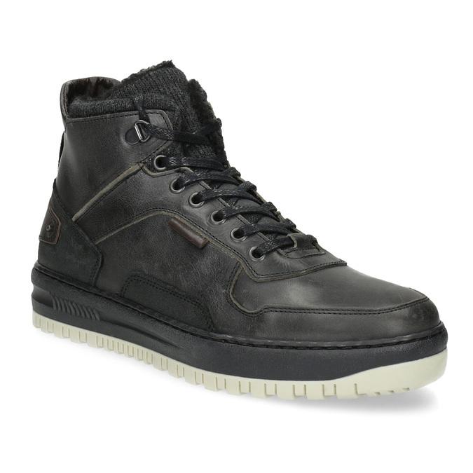 Czarne skórzane obuwie męskie za kostkę bata, czarny, 896-6712 - 13