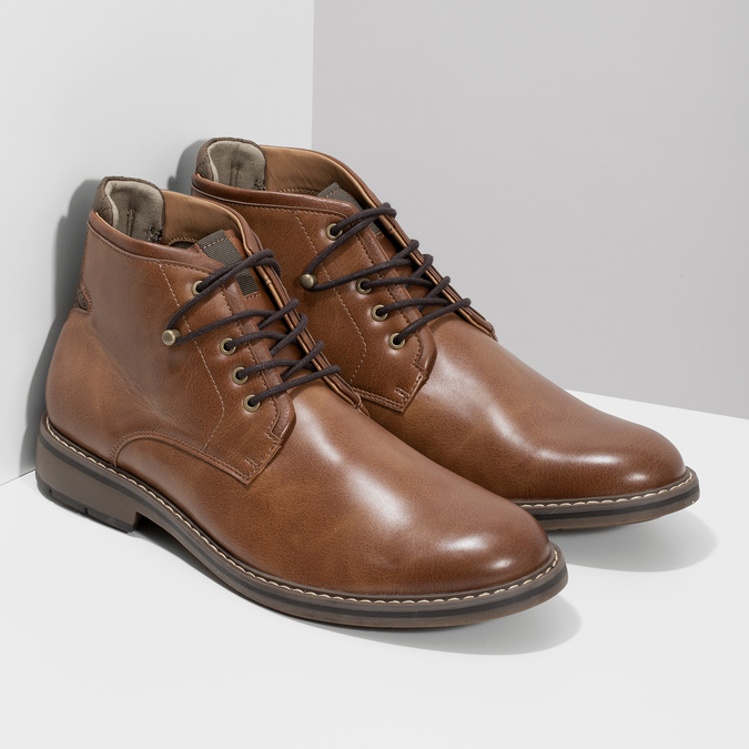 Brązowe obuwie męskie za kostkę, zelastycznymi wstawkami bata-red-label, brązowy, 821-3610 - 26