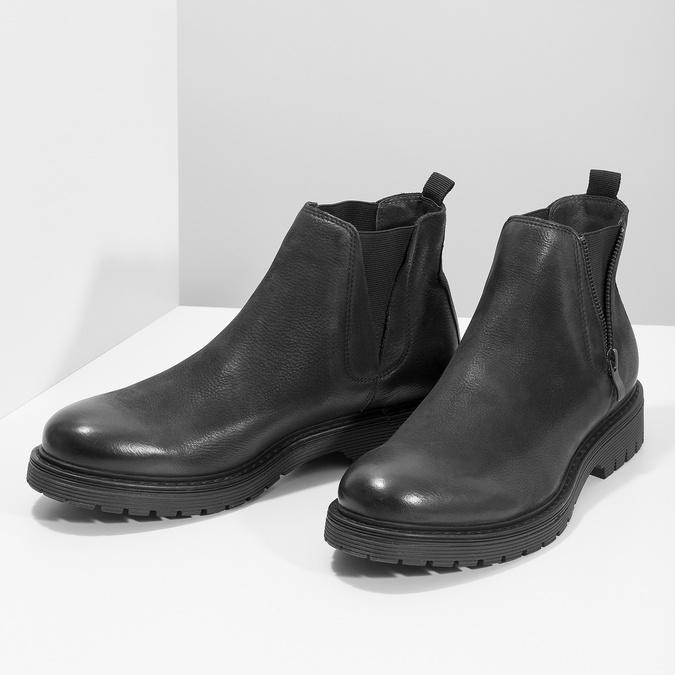 Skórzane zimowe obuwie męskie typu chelsea bata, czarny, 896-6714 - 16
