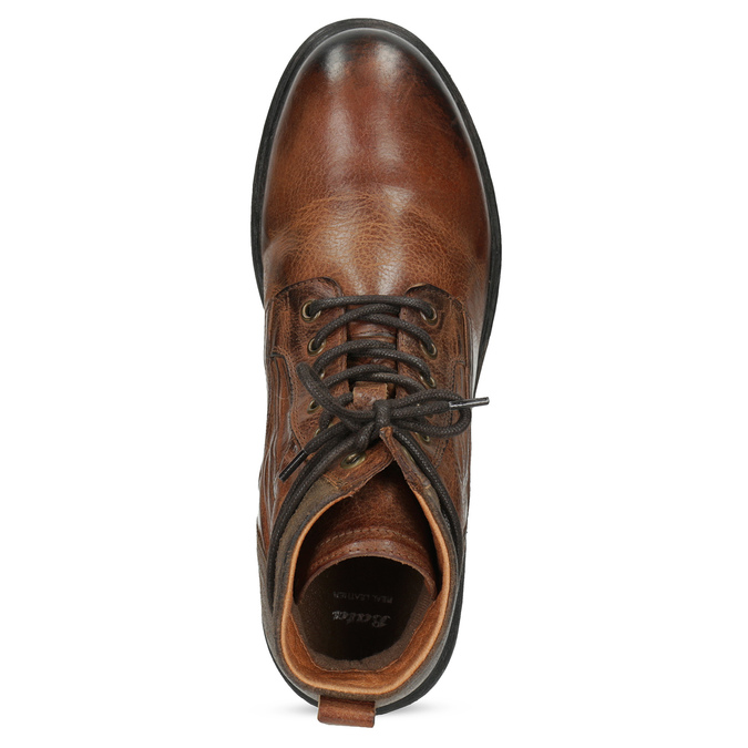 Brązowe skórzane obuwie męskie za kostkę bata, brązowy, 896-3717 - 17