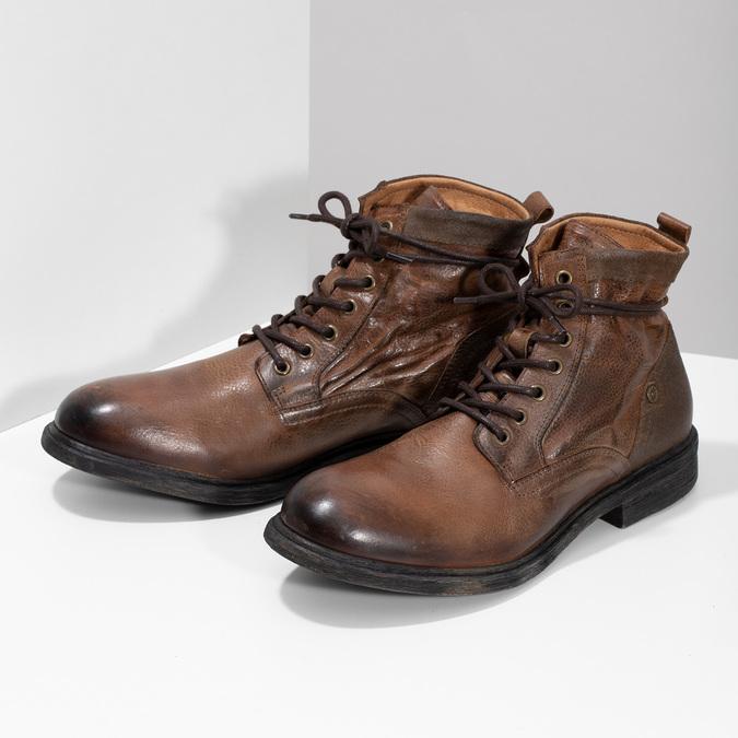 Brązowe skórzane obuwie męskie za kostkę bata, brązowy, 896-3717 - 16