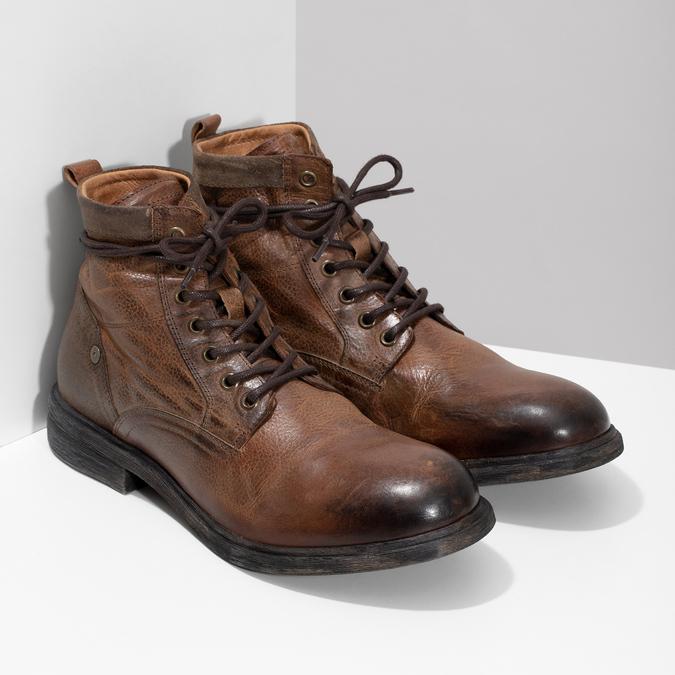Brązowe skórzane obuwie męskie za kostkę bata, brązowy, 896-3717 - 26