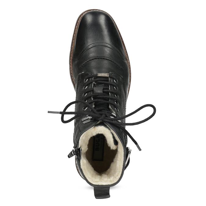 Skórzane obuwie męskie za kostkę, zfuterkiem bugatti, czarny, 826-6030 - 17