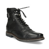 Skórzane obuwie męskie za kostkę, zfuterkiem bugatti, czarny, 826-6030 - 13