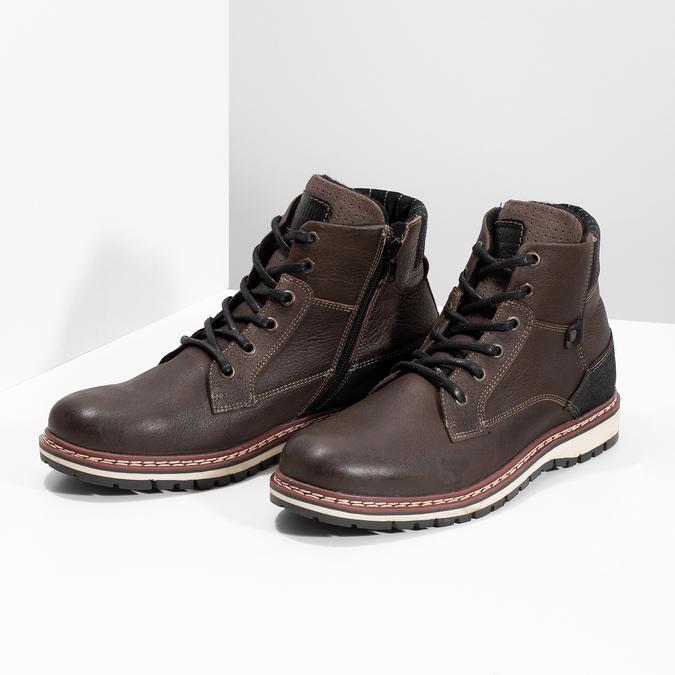 Skórzane obuwie męskie za kostkę bata, brązowy, 896-4666 - 16