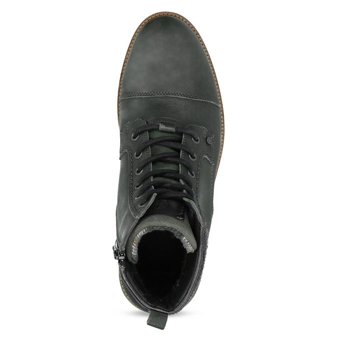 Zielone skórzane obuwie męskie za kostkę bata, zielony, 896-7669 - 17