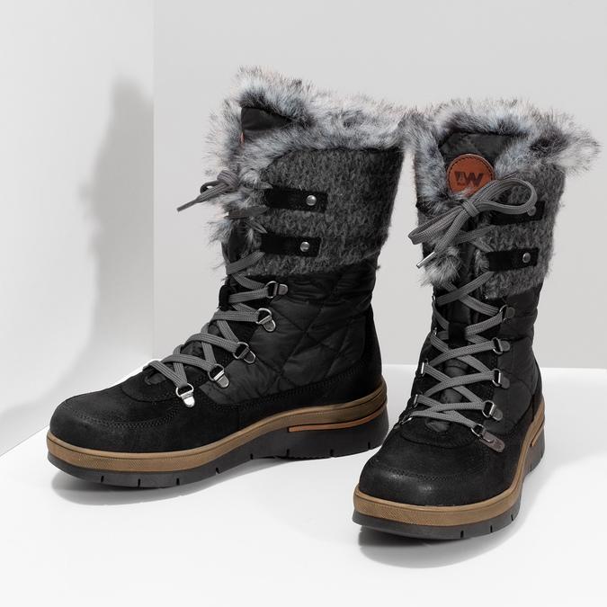 Czarne zimowe obuwie damskie zfuterkiem weinbrenner, czarny, 596-6755 - 16