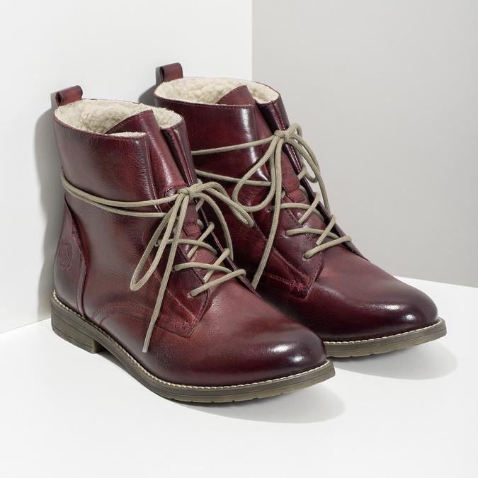 Skórzane botki damskie zociepliną bata, czerwony, 596-5702 - 26
