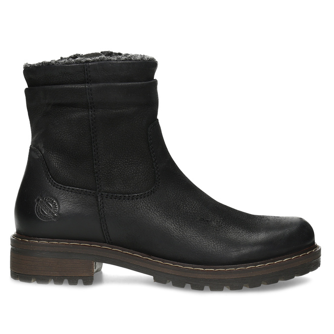 Skórzane kozaki damskie zociepliną bata, czarny, 596-6703 - 19