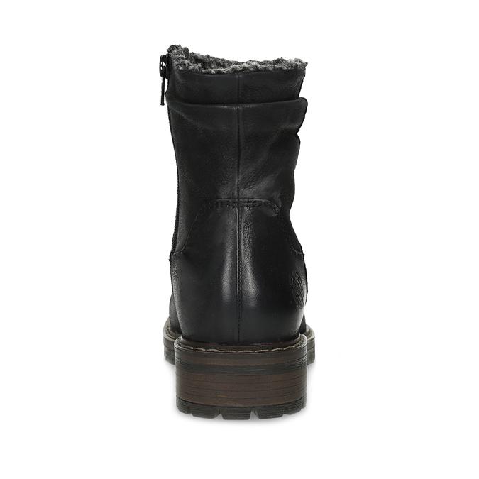 Skórzane kozaki damskie zociepliną bata, czarny, 596-6703 - 15