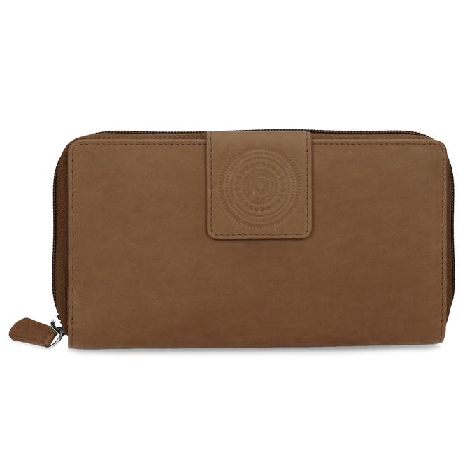 Skórzany portfel damski zdekoracyjnym elementem bata, brązowy, 944-4615 - 26