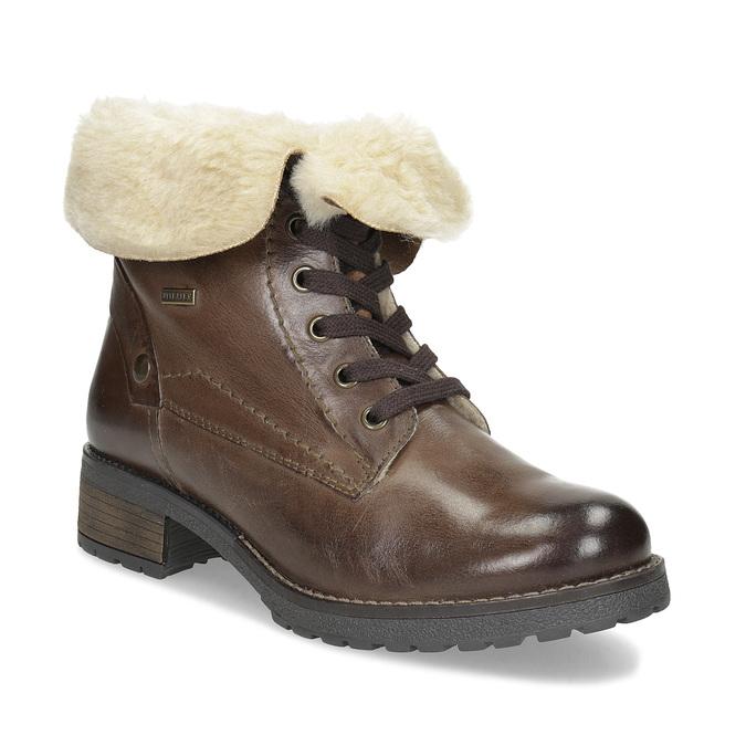 Skórzane botki damskie zfuterkiem bata, brązowy, 694-4669 - 13