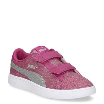 Różowe trampki dziecięce na rzepy puma, różowy, 301-5224 - 13