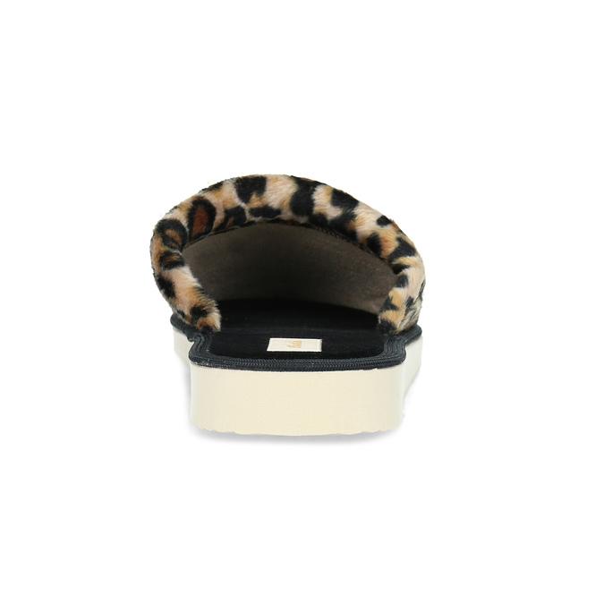 Domowe klapki damskie wpanterkę bata, brązowy, 579-8639 - 15