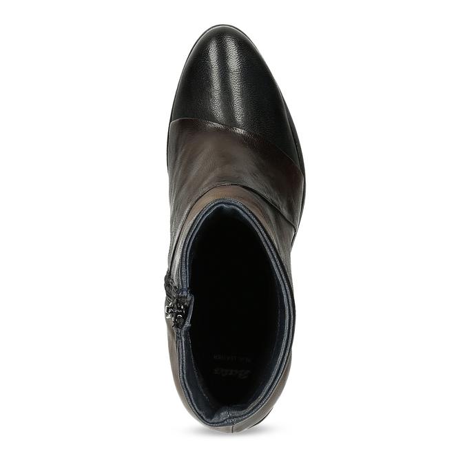 Brązowe skórzane botki zplastycznymi połączeniami bata, brązowy, 696-2653 - 17
