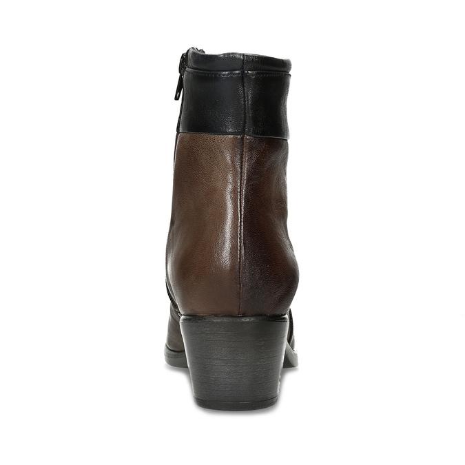 Brązowe skórzane botki zplastycznymi połączeniami bata, brązowy, 696-2653 - 15