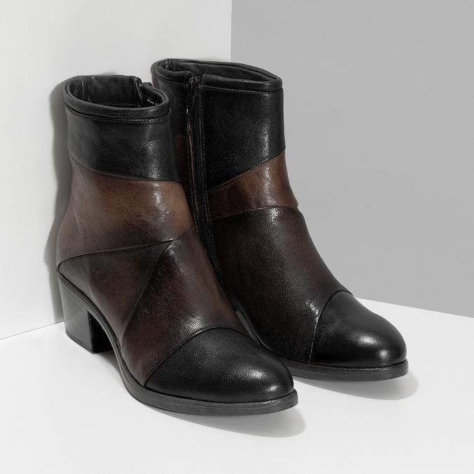Brązowe skórzane botki zplastycznymi połączeniami bata, brązowy, 696-2653 - 26