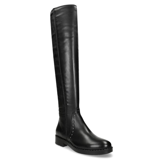 Czarne skórzane kozaki zmetalowymi ćwiekami bata, czarny, 596-6725 - 13