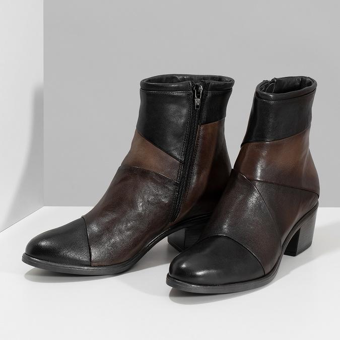 Brązowe skórzane botki zplastycznymi połączeniami bata, brązowy, 696-2653 - 16