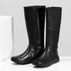 Czarne skórzane kozaki damskie bata, czarny, 594-6684 - 16