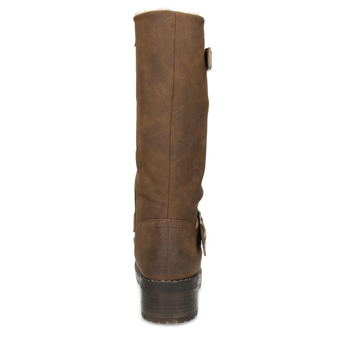 Brązowe kozaki damskie zklamrami bata, brązowy, 691-4643 - 15