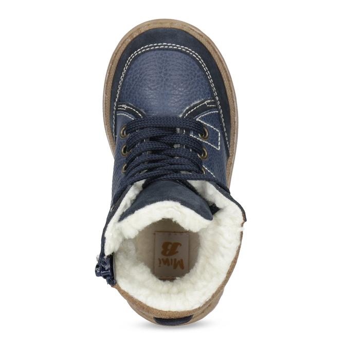 Granatowe skórzane obuwie dziecięce na zimę mini-b, niebieski, 294-9601 - 17