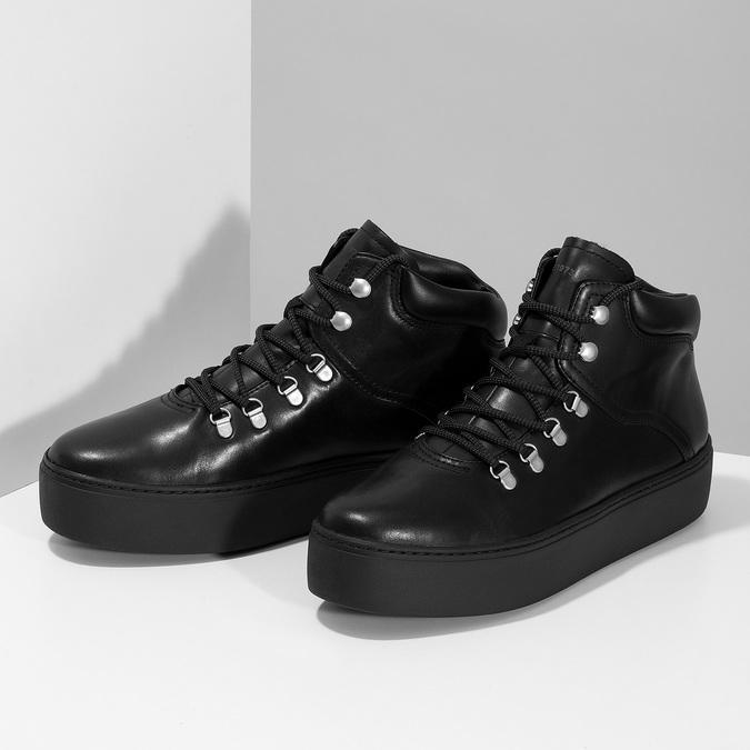 Zimowe skórzane obuwie damskie vagabond, czarny, 694-6018 - 16
