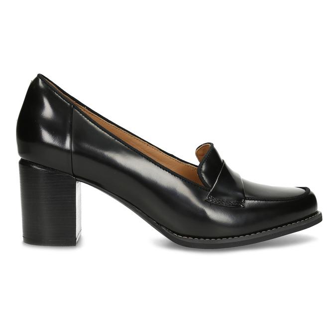 Czarne skórzane loafersy na obcasach clarks, czarny, 726-6070 - 19
