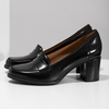 Czarne skórzane loafersy na obcasach clarks, czarny, 726-6070 - 16