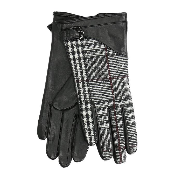 Czarne skórzane rękawiczki damskie wkratkę bata, czarny, 904-6138 - 13