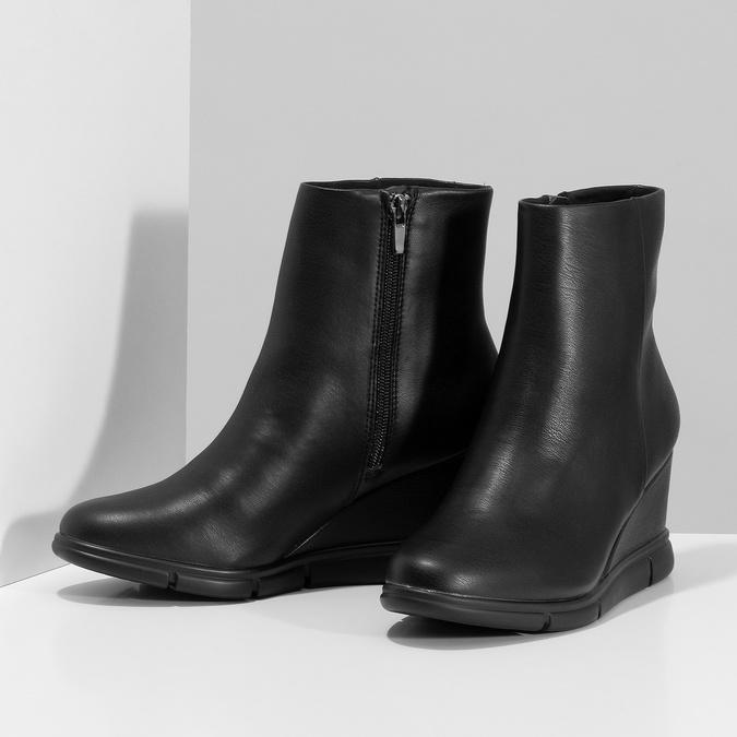 Czarne botki damskie na koturnach bata-b-flex, czarny, 791-6630 - 16