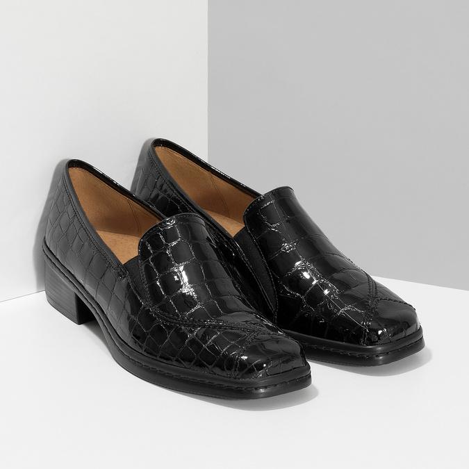 Loafersy damskie zlakierowanej skóry gabor, czarny, 618-6048 - 26