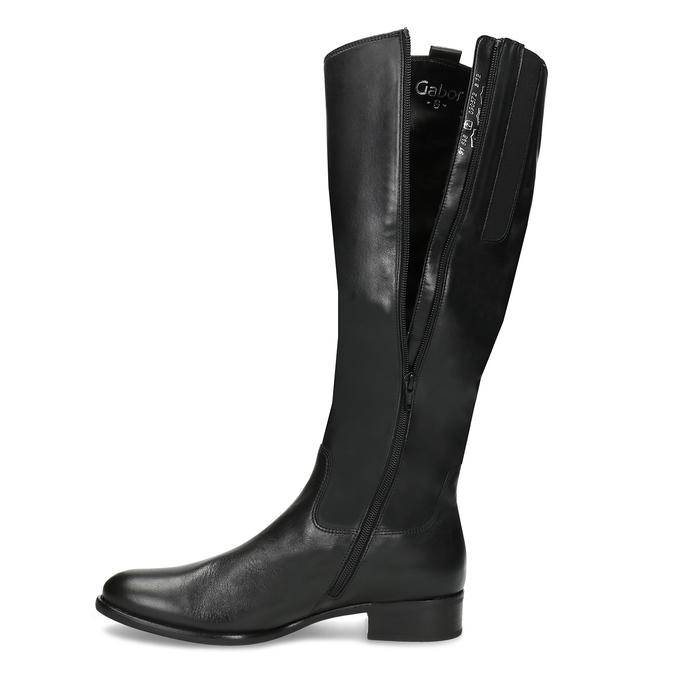 Czarne skórzane kozaki damskie gabor, czarny, 694-6179 - 17