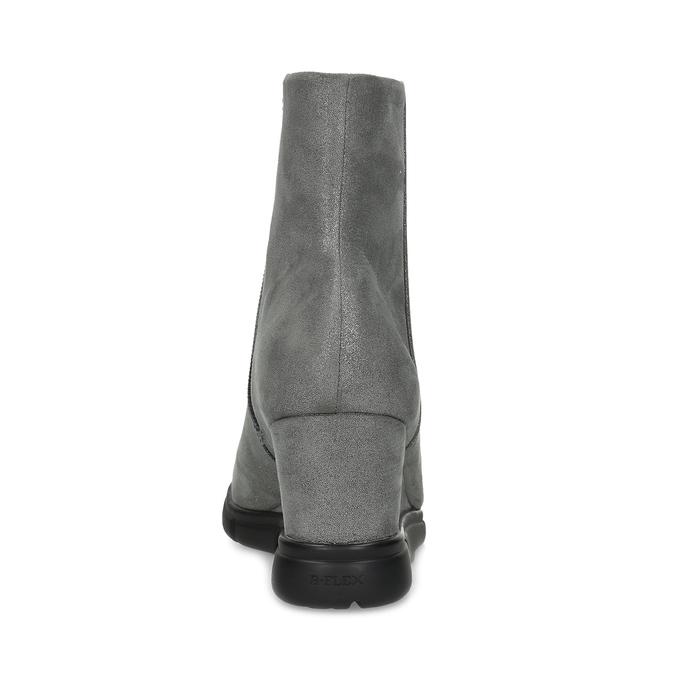 Srebrne botki damskie na koturnach bata-b-flex, srebrny, 799-2642 - 15