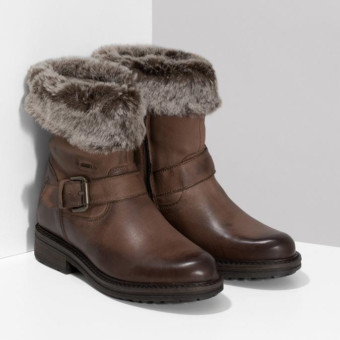 Zimowe skórzane obuwie damskie zfuterkiem bata, brązowy, 596-4701 - 26