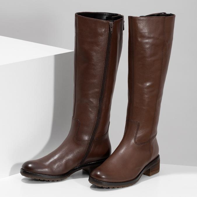 Brązowe skórzane kozaki damskie gabor, brązowy, 696-3183 - 16