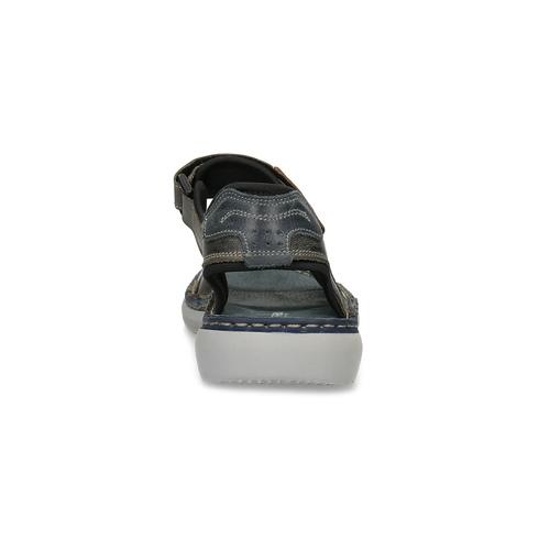 Beżowe skórzane sandały męskie na rzepy weinbrenner, brązowy, 866-2644 - 15