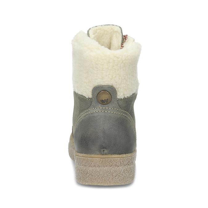 Zimowe skórzane obuwie damskie weinbrenner, zielony, 596-7750 - 15