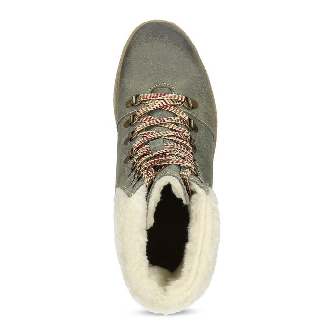 Zimowe skórzane obuwie damskie weinbrenner, zielony, 596-7750 - 17