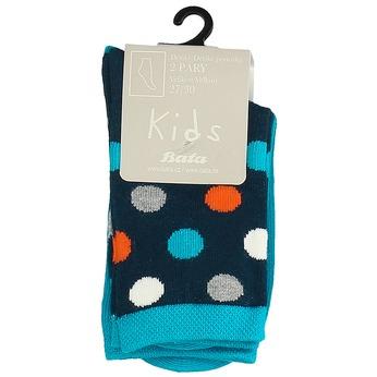 Długie granatowo-niebieskie skarpetki dziecięce wgroszki bata, niebieski, 919-9686 - 13
