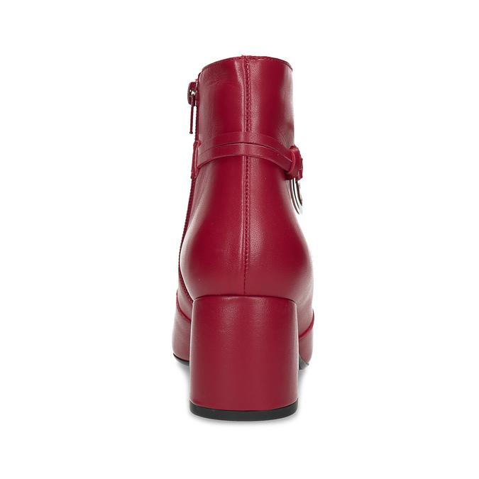 Czerwone skórzane botki zklamrami bata, czerwony, 794-5608 - 15
