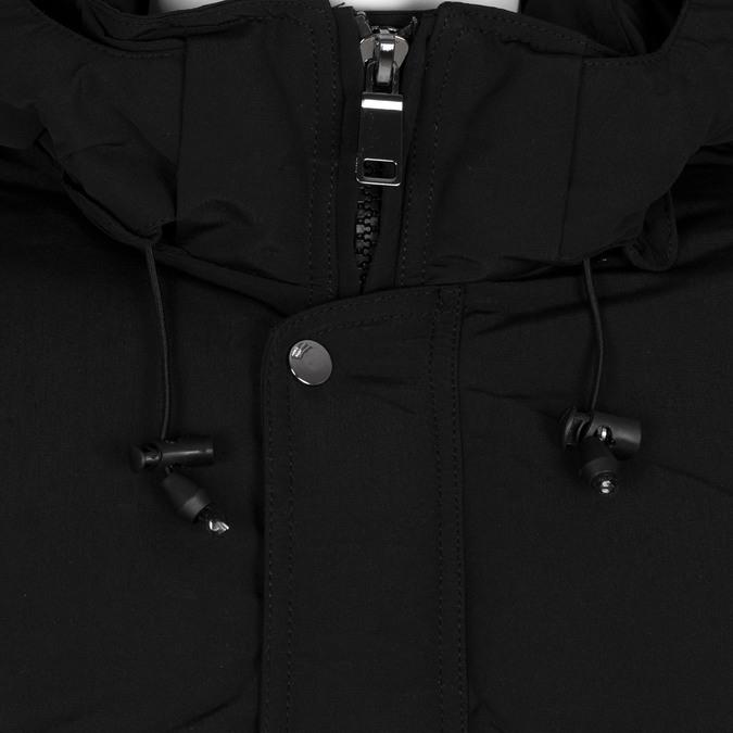 Długa czarna kurtka męska zkapturem bata, czarny, 979-6366 - 16