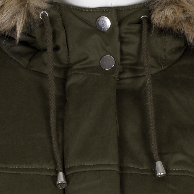 Kurtka damska wkolorze khaki, zkapturem ifuterkiem bata, zielony, 979-7321 - 16