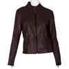 Bordowa skórzana kurtka damska zprzeszyciami bata, czerwony, 974-5106 - 13
