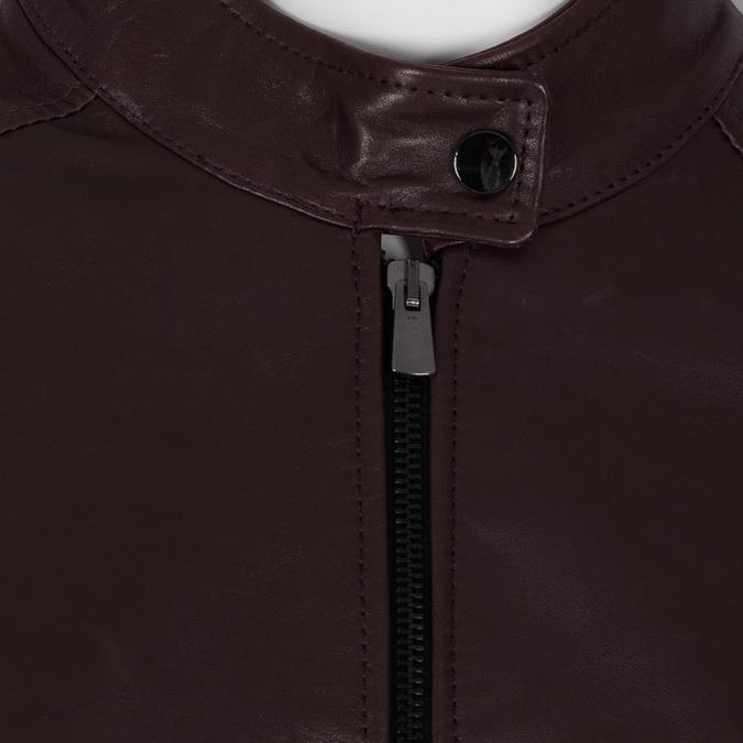 Bordowa skórzana kurtka damska zprzeszyciami bata, czerwony, 974-5106 - 16
